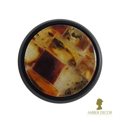 bursztynowa gałka meblowa modernhome czarna/dekor koniakowy