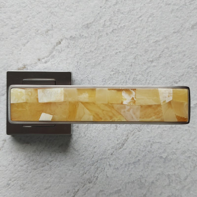 bursztynowa klamka satyna/dekor słoneczny